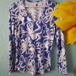 Lilly Pulitzer Bubbly Octopus LS tee size M